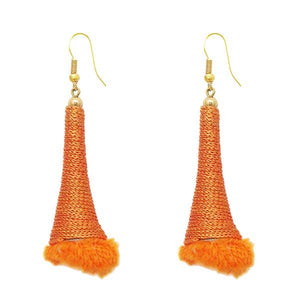Tip Top Fashions Gold Plated Orange Thread Earrings - 1308318D