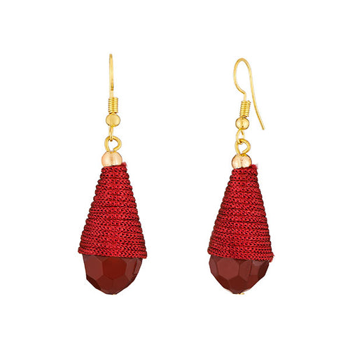 Tiptop Fashions  Gold Plated Maroon Thread Earrings