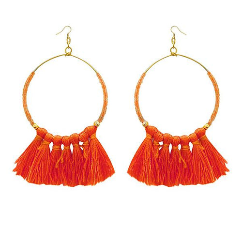 Tiptop Fashions Gold Plated Orange Thread Earrings - 1308339B