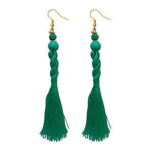 Tiptop Fashions Green Beads Thread Earrings - 1308356I