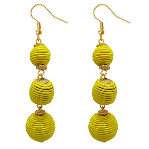 Tiptop Fashions Yellow Thread Gold Plated Dangler Earrings - 1308360I