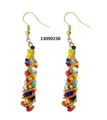 Tiptop Fashions  Multi Beads Gold Plated Dangler Earring