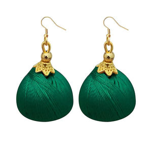Tiptop Fashions Gold Plated Green Thread Earrings - 1309073H