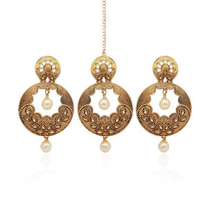 Tip Top Fashions Austrian Stone Gold Plated Earrings With Maang Tikka - 1309524