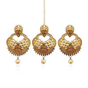 Tip Top Fashions Gold Plated Austrian Stone Earrings With Maang Tikka - 1309525