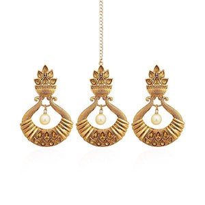 Tip Top Fashions Austrian Stone Gold Plated Earrings With Maang Tikka - 1309526