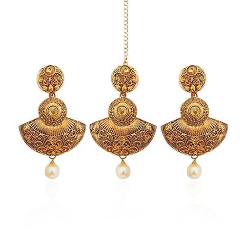 Tip Top Fashions Gold Plated Austrian Stone Earrings With Maang Tikka - 1309527