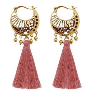 Tiptop Fashions  Gold Plated Brown Thread Tassel Earrings  -  Imitation Jewellery - 1310953b - 13109