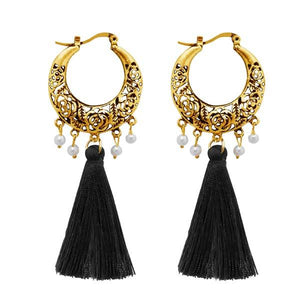 Tiptop Fashions  Black Thread Gold Plated Tassel Earrings  -  Imitation Jewellery - 1310955a - 13109