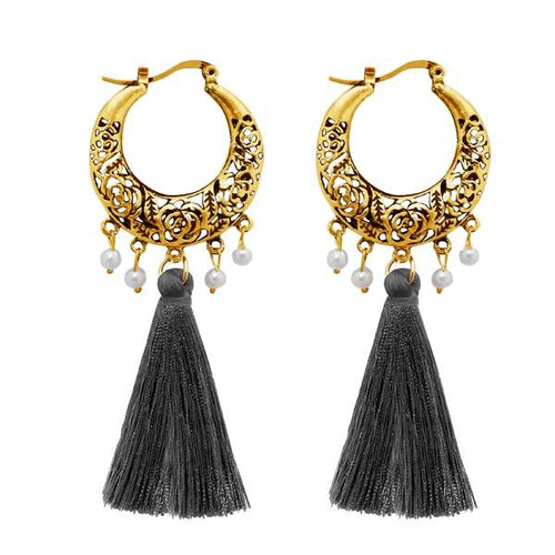 Tiptop Fashions  Gold Plated Grey Thread Tassel Earrings  -  Imitation Jewellery - 1310955c - 13109