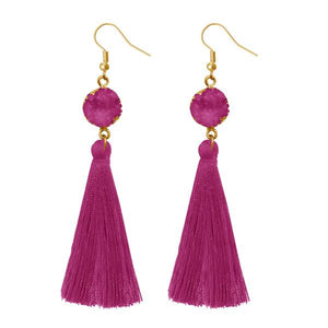 Tiptop Fashions  Purple Thread Gold Plated Tassel Earrings