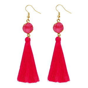 Tiptop Fashions  Pink Thread Gold Plated Tassel Earrings