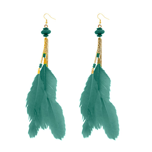 Tip Top Fashions Gold Plated Green Feather Earrings - 1310971A