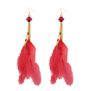 Tip Top Fashions Gold Plated Red Feather Earrings - 1310971C