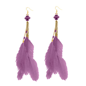 Tip Top Fashions Gold Plated Purple Feather Earrings - 1310971D