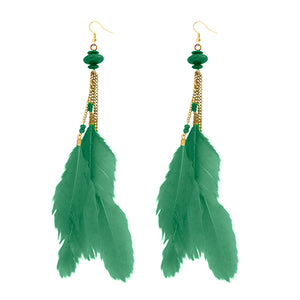 Tip Top Fashions Gold Plated Green Feather Earrings - 1310971H