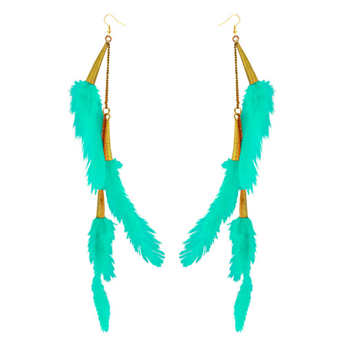 Tip Top Fashions Gold Plated Green Feather Earrings - 1310972B