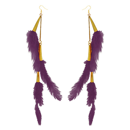 Tip Top Fashions Gold Plated Purple Feather Earrings - 1310972C