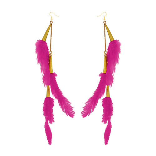 Tip Top Fashions Gold Plated Pink Feather Earrings - 1310972E