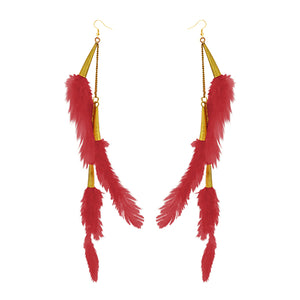 Tip Top Fashions Gold Plated Red Feather Earrings - 1310972G