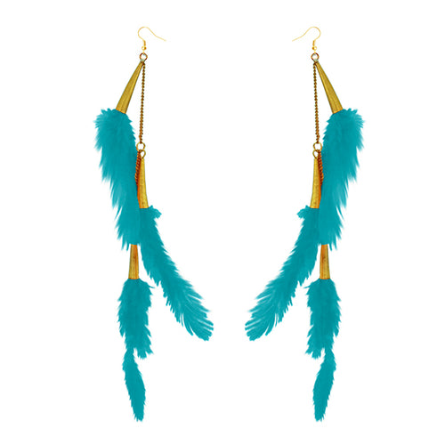 Tip Top Fashions Gold Plated Blue Feather Earrings - 1310972H