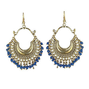Tiptop Fashions Blue Beads Gold Plated Afghani Earrings - 1311050C