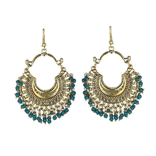Tiptop Fashions Blue Beads Gold Plated Afghani Earrings - 1311050E