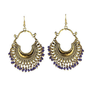 Tiptop Fashions Blue Beads Gold Plated Afghani Earrings - 1311050H