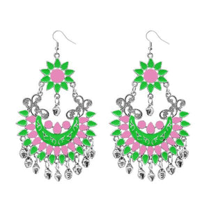 Tiptop Fashions  Green Meenakari Silver Plated Afghani Earrings - Tiptop Fashions