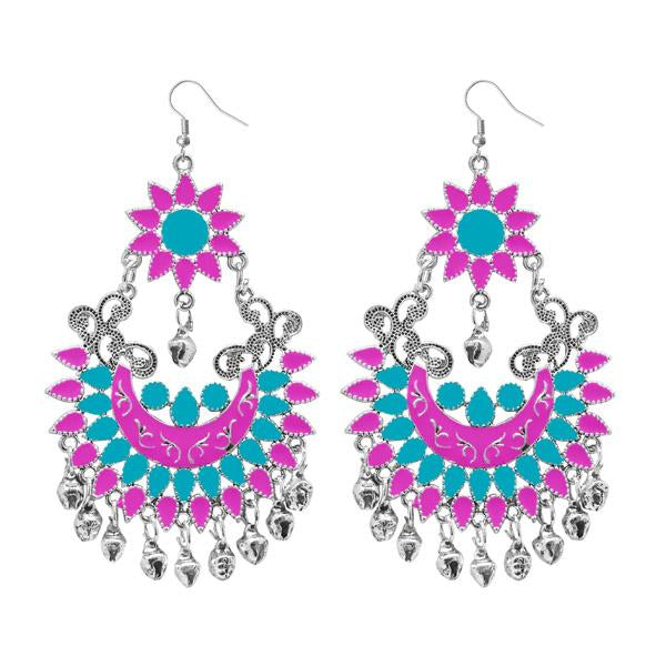 Tiptop Fashions  Silver Plated Pink Meenakari Afghani Earrings - Tiptop Fashions