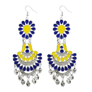 Tiptop Fashions  Yellow Meenakari Silver Plated Afghani Earrings - Tiptop Fashions