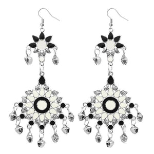 Tiptop Fashions  Silver Plated White Meenakari Afghani Earrings - Tiptop Fashions