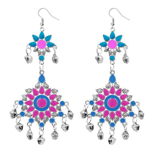 Tiptop Fashions  Pink Meenakari Silver Plated Afghani Earrings - Tiptop Fashions