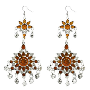 Tiptop Fashions  Brown Meenakari Silver Plated Afghani Earrings - Tiptop Fashions