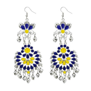 Tiptop Fashions  Blue Meenakari Silver Plated Afghani Earrings - Tiptop Fashions
