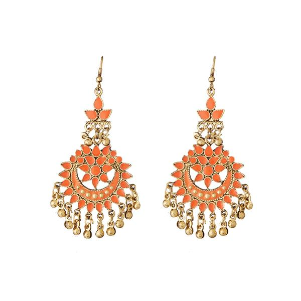 Tiptop Fashions  Gold Plated Orange Meenakari Afghani Earrings - Tiptop Fashions