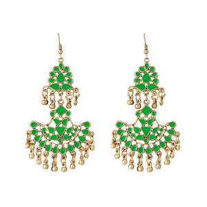 Tiptop Fashions  Green Meenakari Gold Plated Afghani Earrings - Tiptop Fashions