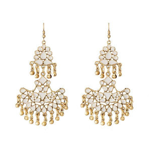 Tiptop Fashions  White Meenakari Gold Plated Afghani Earrings - Tiptop Fashions