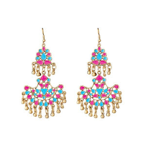 Tiptop Fashions  Pink Meenakari Gold Plated Afghani Earrings - Tiptop Fashions