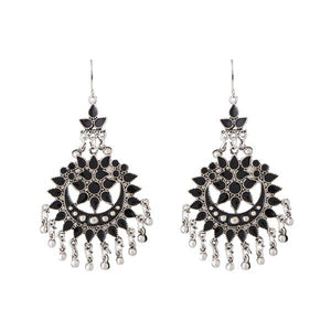 Tiptop Fashions  Black Meenakari Silver Plated Afghani Earrings - Tiptop Fashions