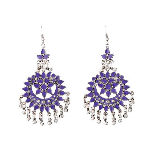 Tiptop Fashions  Purple Meenakari Silver Plated Afghani Earrings - Tiptop Fashions