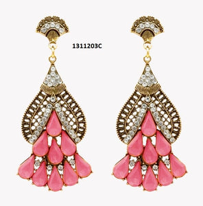 Tiptop Fashions  Pink Crystal & Stone Gold Plated Dangler Earrings  -  Imitation Jewellery - 1311203c - 13112
