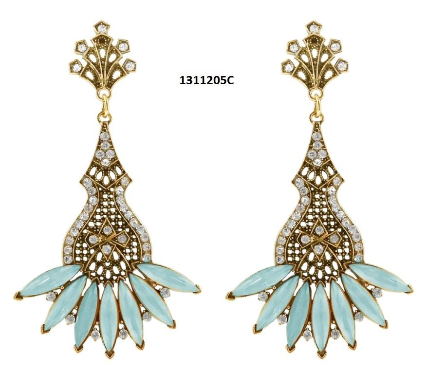 Tiptop Fashions  Blue Crystal And Stone Dangler Earrings  -  Imitation Jewellery - 1311205c - 13112