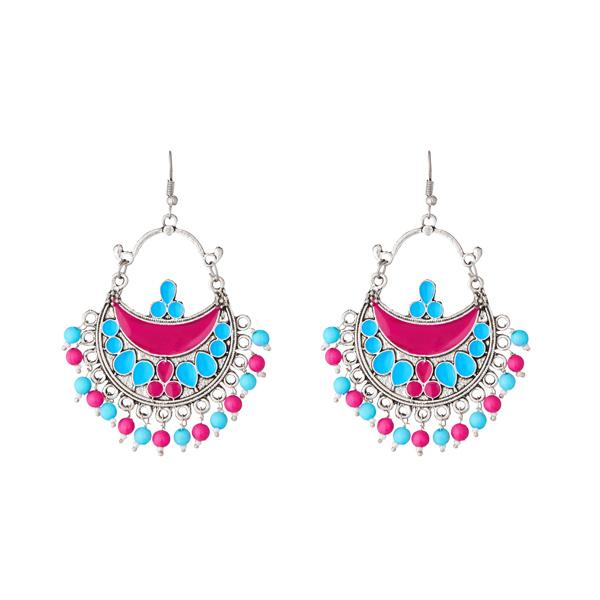 Tiptop Fashions  Rhodium Plated Beads Afghani Earrings - Tiptop Fashions