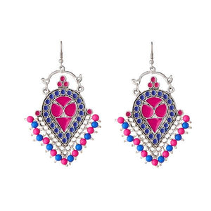 Tiptop Fashions  Beads Rhodium Plated Meenakari Afghani Earrings - Tiptop Fashions