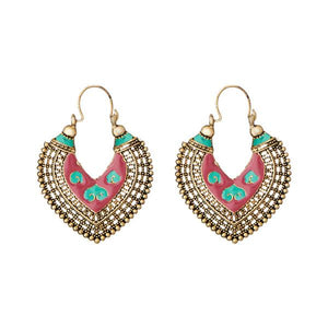 Tiptop Fashions  Red Meenakari Antique Gold Plated Afghani Earrings - Tiptop Fashions