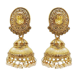 Tiptop Fashions  Austrian Stone Pearl Gold Plated Jhumki Earrings - Tiptop Fashions