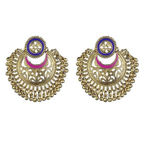 Tip Top Fashions Blue And Pink Meenakari Gold Plated Afghani Earrings - 1311905J