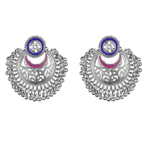 Tip Top Fashions Blue And Pink Meenakari Silver Plated Afghani Earrings - 1311906J