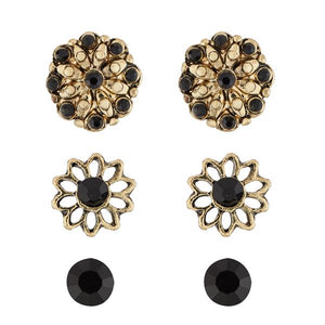 Tiptop Fashions  Antique Gold Plated Stone Stud Earrings Set - Tiptop Fashions